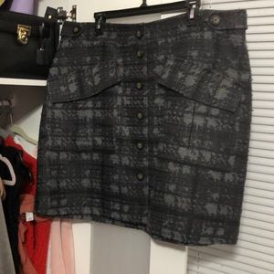 Tweed Plaid Button Up Skirt